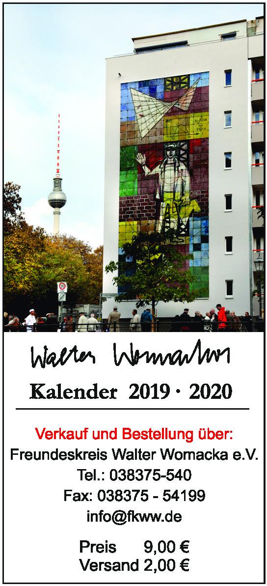 Walter Womacka Kalender 2019/20